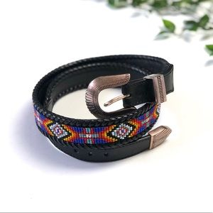 Vintage 90's Beaded Leather Belt